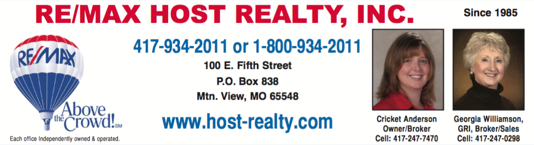 Re/Max Host Realty Inc � Cricket Anderson, Owner/Broker � Mountain View, MO Real Estate