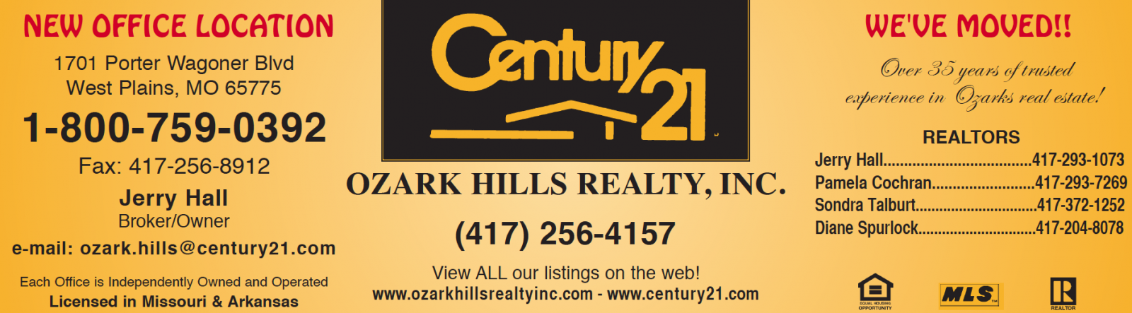 Century 21 Ozark Hills Realty, Inc � Jerry & Sue Hall, Broker/Owners � West Plains, MO Real Estate